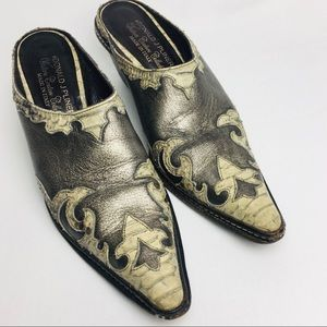 DJP Italian Western Couture Silver Leather Mule